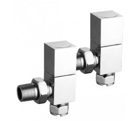 Eastgate Square Chrome Angled Radiator Valves (pair)