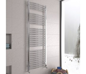DBS Chrome Curved Heated Towel Rail 1800mm x 600mm