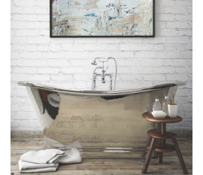 BC Designs Nickel Freestanding Boat Bath 1700mm x 725mm