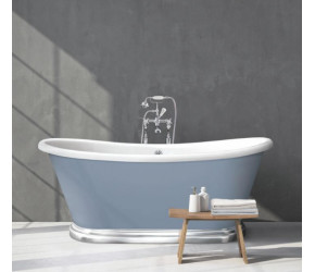 BC Designs Double Skinned Acrylic Boat Bath with Aluminium Plinth 1700mm x 750mm