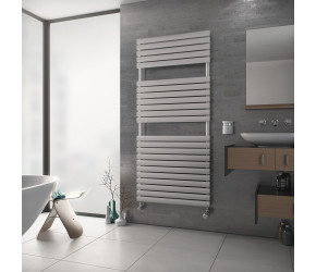 Eucotherm Nova Primus White Designer Towel Radiator 1164mm High x 600mm Wide