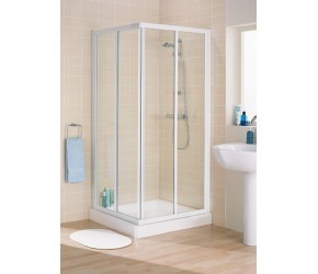 Lakes Classic Silver Framed Corner Entry Shower Enclosure 900mm Wide x 1850mm High