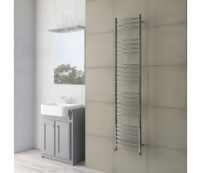 DBS Curved Polished Stainless Steel Towel Rail 1600mm High x 350mm Wide