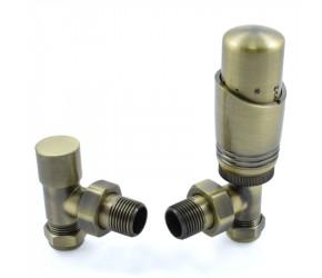 Wyvern Antique Brass Angled Thermostatic Radiator Valve and Lockshield