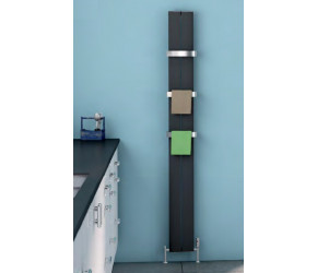 Eastbrook Preston Matt Black Vertical Aluminium Radiator 1800mm x 185mm