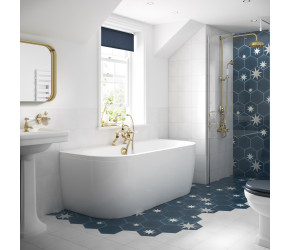 BC Designs Solid Blue Monreale Back To Wall Freestanding Bath With Panel