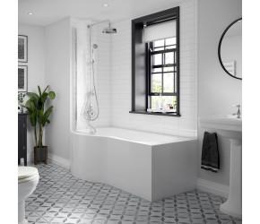 BC Designs Solid Blue P Shaped Shower Bath Left Hand 1500mm
