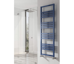 Reina Bolca Blue Satin Aluminium Designer Heated Towel Rail 870mm x 485mm