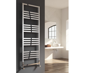 Reina Bolca Polished Aluminium Designer Heated Towel Rail 1200mm x 485mm
