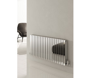 Reina Flox Polished Stainless Steel Double Panel Flat Radiator 600mm x 590mm