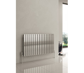 Reina Flox Brushed Stainless Steel Single Panel Flat Radiator 600mm x 590mm