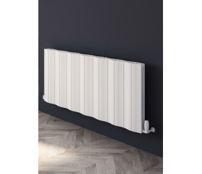 Reina Wave White Aluminium Double Panel Horizontal Radiator 600mm x 1452mm
