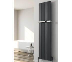 Reina Wave Anthracite Aluminium Single Panel Vertical Radiator 1800mm x 204mm