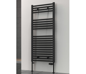 Reina Diva Black Straight Heated Towel Rail 1200mm x 400mm