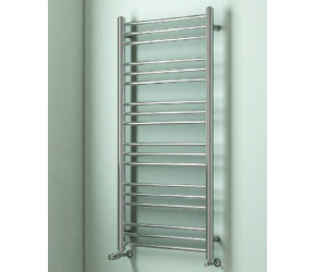 Eastbrook Biava Round Tube Chrome Straight Heated Towel Rail 1200mm x 400mm
