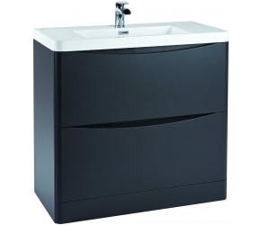 Iona Contour Matt Grey Floor Standing Two Drawer Vanity Unit and Basin 900mm