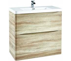 Iona Contour Bardolino Driftwood Oak Floor Standing Two Drawer Vanity Unit and Basin 900mm