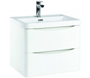 Iona Contour Gloss White Wall Hung Two Drawer Vanity Unit and Basin 600mm