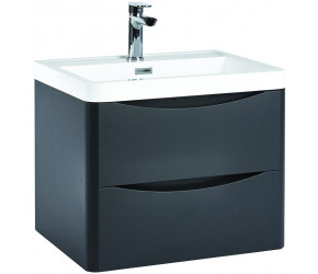 Iona Contour Matt Grey Wall Hung Two Drawer Vanity Unit and Basin 600mm