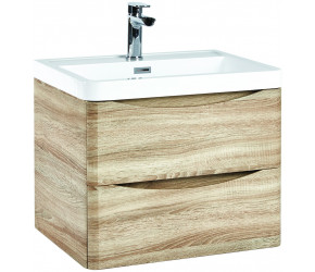 Iona Contour Bardolino Driftwood Oak Wall Hung Two Drawer Vanity Unit and Basin 600mm