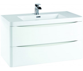 Iona Contour Gloss White Wall Hung Two Drawer Vanity Unit and Basin 900mm