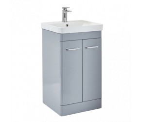 Iona Eve Pebble Grey Two Door Bathroom Vanity Unit with Basin 600mm