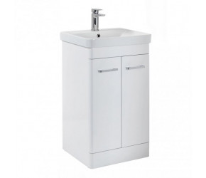 Iona Eve Gloss White Two Door Bathroom Vanity Unit with Basin 600mm