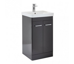 Iona Eve Wolf Grey Two Door Bathroom Vanity Unit with Basin 600mm