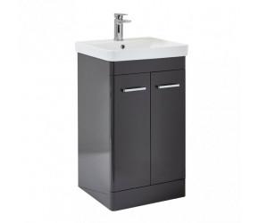 Iona Eve Wolf Grey Two Door Bathroom Vanity Unit with Basin 600mm