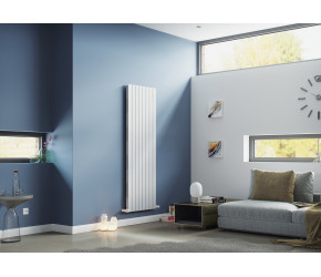 Eucotherm Mars Elegant White Vertical Double Panel Slim Radiator 1800mm x 295mm
