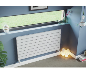 Eucotherm Mars Elegant White Horizontal Double Panel Slim Radiator 595mm x 1200mm