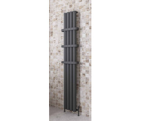 Eastbrook Burford Matt Anthracite Vertical Aluminium Radiator 1800mm x 345mm