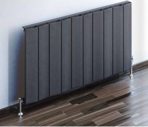 Eastbrook Fairford Matt Anthracite Horizontal Aluminium Radiator 600mm x 375mm