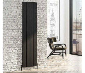 Eastbrook Vesima Matt Black Vertical Aluminium Radiator 1800mm x 303mm