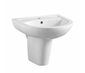 Iona 500mm One Taphole Basin and Semi Pedestal
