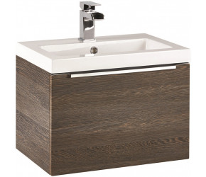 Iona Supreme Dark Oak Wall Hung Bathroom Vanity Unit and Basin 500mm