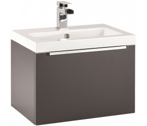 Iona Supreme Matt Grey Wall Hung Bathroom Vanity Unit and Basin 500mm