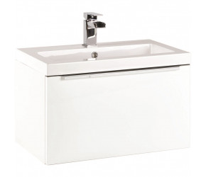 Iona Supreme Gloss White Wall Hung Bathroom Vanity Unit and Basin 600mm