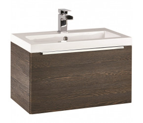 Iona Supreme Dark Oak Wall Hung Bathroom Vanity Unit and Basin 600mm