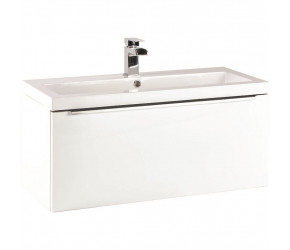 Iona Supreme Gloss White Wall Hung Bathroom Vanity Unit and Basin 800mm