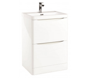 Iona Contour Gloss White Floor Standing Two Drawer Vanity Unit and Basin 600mm