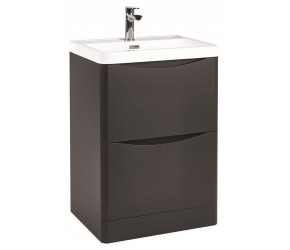 Iona Contour Matt Grey Floor Standing Two Drawer Vanity Unit and Basin 600mm