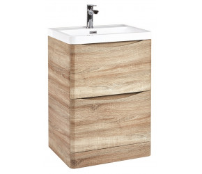 Iona Contour Bardolino Driftwood Oak Floor Standing Two Drawer Vanity Unit and Basin 600mm