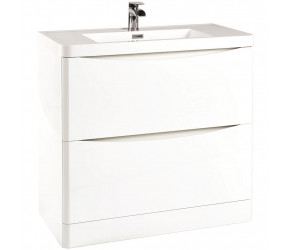 Iona Contour Gloss White Floor Standing Two Drawer Vanity Unit and Basin 900mm