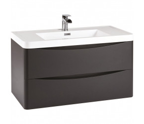 Iona Contour Matt Grey Wall Hung Two Drawer Vanity Unit and Basin 900mm