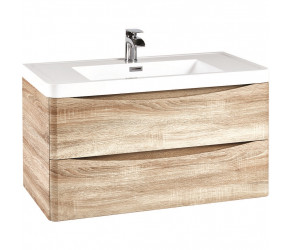 Iona Contour Bardolino Driftwood Oak Wall Hung Two Drawer Vanity Unit and Basin 900mm