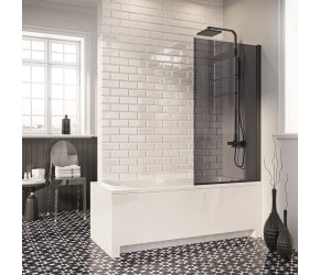 Iona A6 Easy Clean 6mm Black Square Bath Screen 1400mm x 800mm