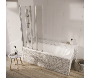 Iona A6 Easy Clean 6mm Single Arm Four Panel Bath Screen 1500mm x 800mm