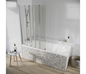 Iona A6 Easy Clean 6mm Single Arm Five Panel Bath Screen 1500mm x 1000mm