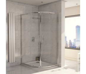 Iona A8 Easy Clean 8mm Glass Double Door Offset Quadrant Shower 900mm x 760mm